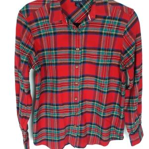 LANDS' END Red/Green Plaid Flanel Shirt Size 4P